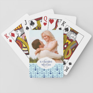 Add Your Name | Blue Anchor Pattern Playing Cards