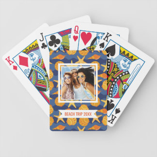 Add Your Name | Blue And Orange Seashell Pattern Bicycle Playing Cards