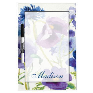 Add Your Name | Blue and Purple Mixed Garden Dry Erase Board
