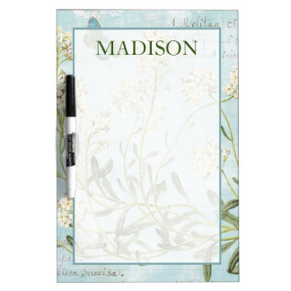 Add Your Name | Blue Botanical Dry Erase Board