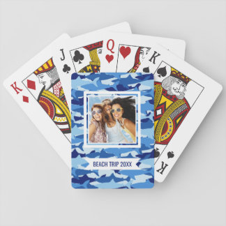 Add Your Name | Blue Shark Pattern | Monogram Playing Cards