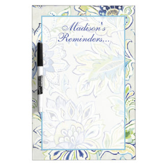 Add Your Name | Bohemian Blue Flower Dry-Erase Boards
