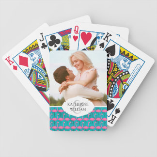 Add Your Name | Bright Flamingo Pattern Bicycle Playing Cards