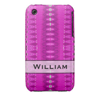 Add your name bright pink pattern Case-Mate iPhone 3 cases