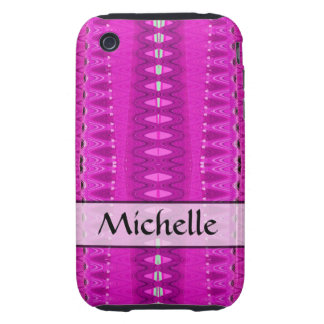 Add your name bright pink pattern iPhone 3 tough cover