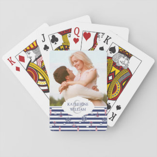 Add Your Name   By The Sea Pattern Playing Cards