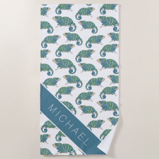 Add Your Name   Chameleon Pattern Beach Towel