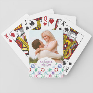 Add Your Name | Colorful Nautical Pattern Playing Cards