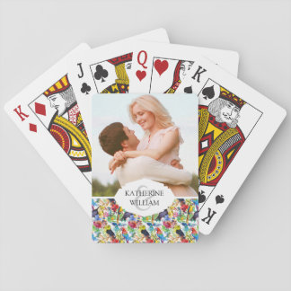 Add Your Name   Colorful Watercolor Parrots Poker Deck