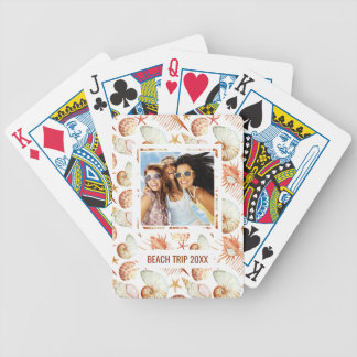 Add Your Name | Coral With Shells & Crabs Pattern Bicycle Playing Cards