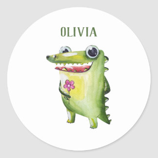 Add your name cute crocodile template name sticker