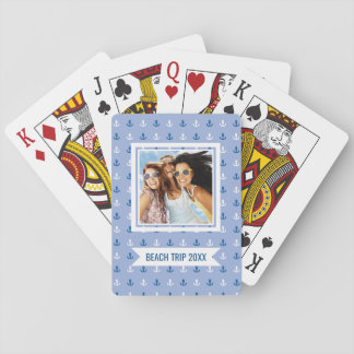 Add Your Name | Cute Little Anchor Pattern Playing Cards