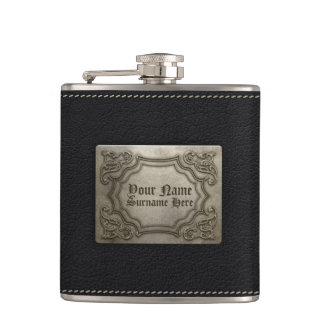 Add your name - Faux Leather & Embossed Metal Hip Flask