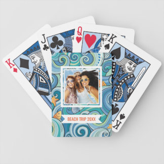 Add Your Name | Fish Among The Waves Pattern Bicycle Playing Cards