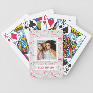 Add Your Name | Flamingo Feathers On Polka Dots Bicycle Playing Cards