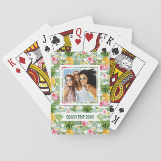 Add Your Name | Flowers & Pineapple Teal Stripes Playing Cards