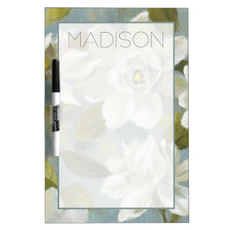 Add Your Name | Gardenias on Slate Blue Dry Erase Board