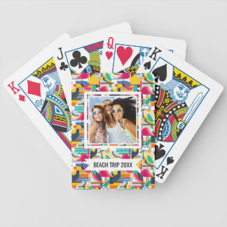 Add Your Name | Geometric Tropical Birds Bicycle Playing Cards