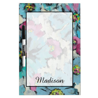 Add Your Name | Graphic Pink and Blue Floral Dry Erase Board