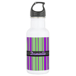 Add Your Name Green and Purple Stripe 532 Ml Water Bottle