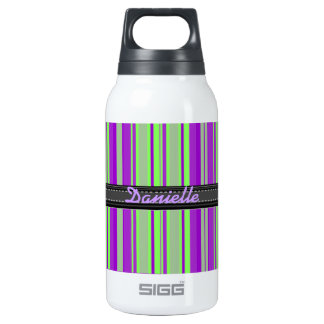 Add Your Name Green and Purple Stripe Insulated Water Bottle