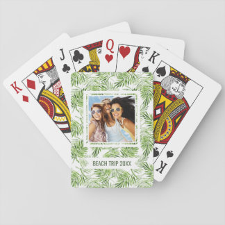 Add Your Name | Green Palm Leaves Playing Cards