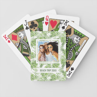 Add Your Name | Green Palm Leaves Poker Deck
