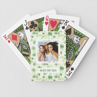 Add Your Name | Green Palm Tree Pattern Bicycle Playing Cards