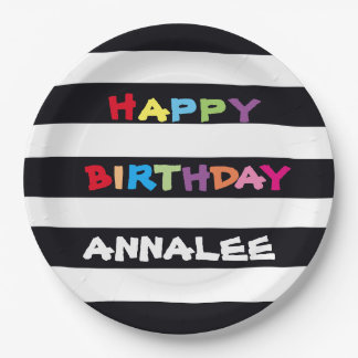 ADD YOUR NAME Happy Birthday Paper Plates 9 inch