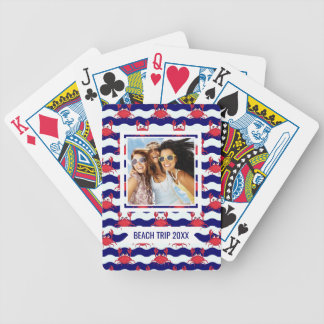 Add Your Name | Happy Crabs Pattern Bicycle Playing Cards