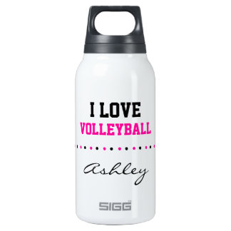 Add Your Name, I Love Volley Ball, Pink and Black Insulated Water Bottle