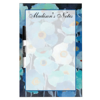 Add Your Name | Indigo Flowers Dry Erase Board