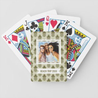 Add Your Name   Khaki Pineapple Pattern Bicycle Playing Cards