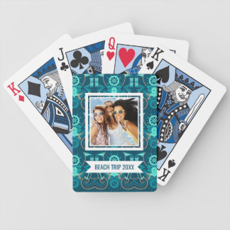 Add Your Name | Nautical Blue Design Bicycle Playing Cards