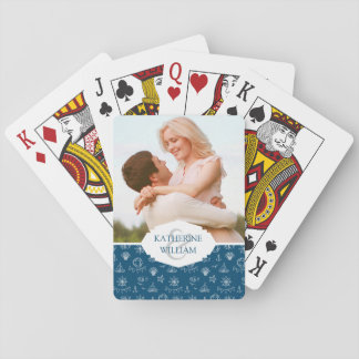 Add Your Name | Nautical Chalk Drawing Pattern Playing Cards