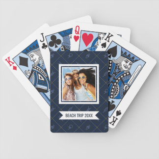 Add Your Name | Nautical Rope Knot Pattern Bicycle Playing Cards