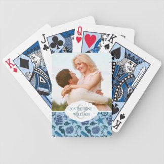 Add Your Name | Nautical Shades Of Blue Pattern Bicycle Playing Cards