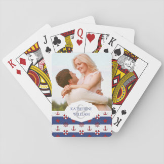 Add Your Name | Nautical Stars And Stripes Pattern Playing Cards