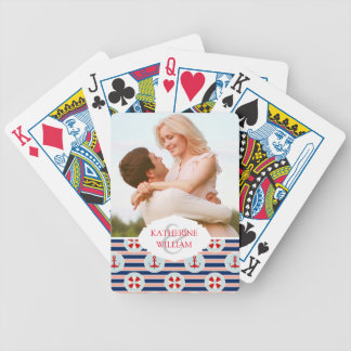 Add Your Name | Nautical Stripes And Dots Pattern Bicycle Playing Cards
