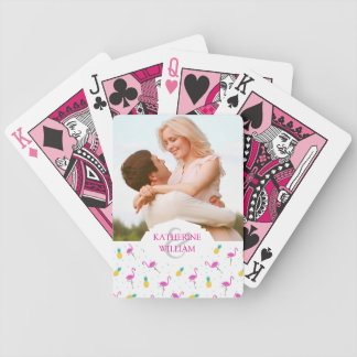 Add Your Name | Neon Flamingos Bicycle Playing Cards