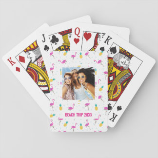 Add Your Name | Neon Flamingos Playing Cards