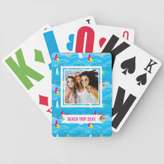 Add Your Name | Neon Yacht Pattern Bicycle Playing Cards