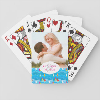Add Your Name | Neon Yacht Pattern Playing Cards