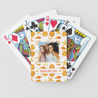 Add Your Name | Orange Beach Shell Pattern Bicycle Playing Cards