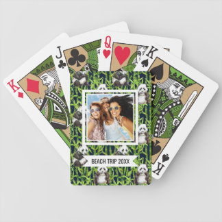 Add Your Name | Panda With Bamboo Watercolor Patte Bicycle Playing Cards