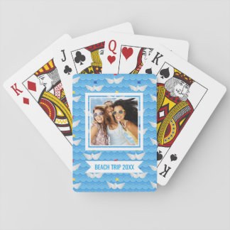 Add Your Name | Paper Boats Sailing On Blue Patter Playing Cards
