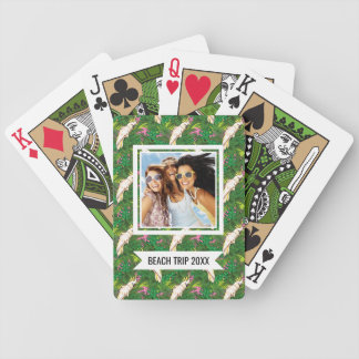 Add Your Name | Parrot Pattern With Palm Leaves Bicycle Playing Cards