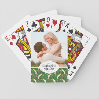 Add Your Name | Parrot Pattern With Palm Leaves Playing Cards
