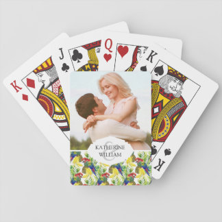 Add Your Name   Parrots And Tropical Fruit Playing Cards