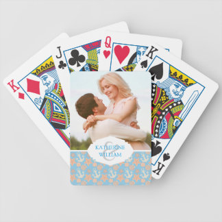 Add Your Name | Pastel Nautical Pattern Bicycle Playing Cards